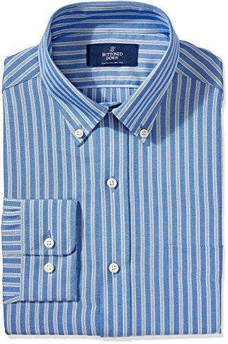 - BUTTONED DOWN Men's Classic Fit Button-Collar Non-Iron Dress Shirt, Blue Stripe, 15.5