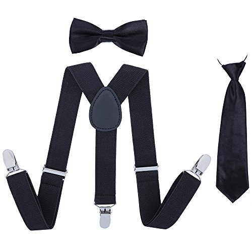 Kids Suspender Bowtie Necktie Sets - Adjustable Elastic Classic Accessory Sets for Boys & Girls (Black)