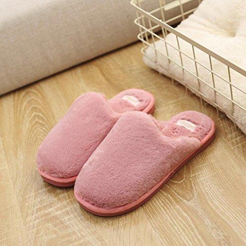 Oksale® Dames Winter Indoor Solide Pluche Warme Pantoffels Antislip Zachte Schoenen Pantoffels Rood