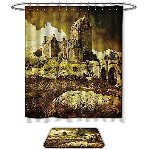 QINYAN-Home 2-Piece Bathroom Set Medieval Decor Old Scottish Castle in Vintage Style European Middle Age Culture Heritage Town Photo Grey Green. 1-Shower Curtain,1-Mats(Ten Sizes Select)