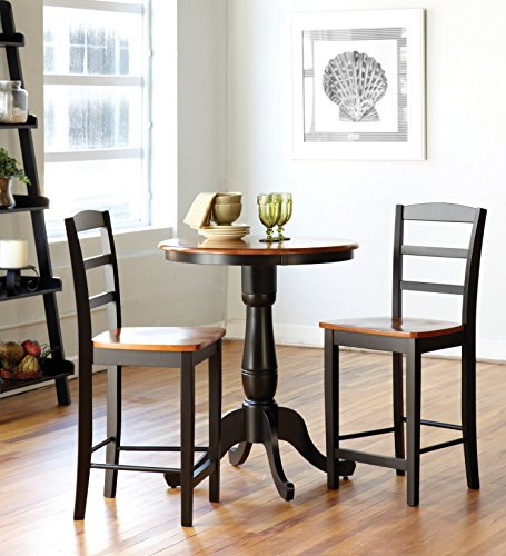 International Concepts 3-Piece 30-Inch Round Table with 2 Stools, Black/Cherry Finish
