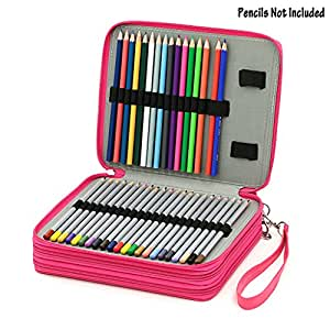 BTSKY® Deluxe PU Leather Pencil Case For Colored Pencils - 120 Slot Pencil Holder (Rose Red)