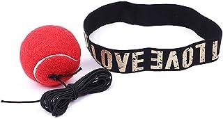 Leaftree Fight Ball avec bandeau pour entraînement de vitesse réflexe Boxe Boxe Punch Exercice, rouge et jaune