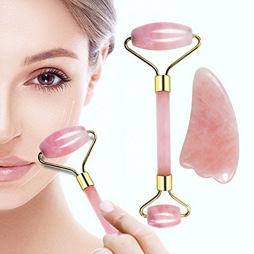 Rose Quartz Roller and Gua Sha 2 in 1 Set, 100% Natural Authentic Jade – Natural Rose Jade Facial Roller, Facial...