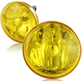 """Universal 4"""" Round Chrome Reflector Yellow Glass Lens Driving Front Bumper Fog Light Lamps"""