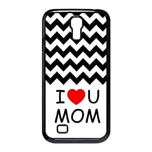Get Your Own Style Of Snap on Hard Cover Case Otterbox For SamSung Galaxy S4 I9500 - Black and White Chevron Pattern With Mom I love You