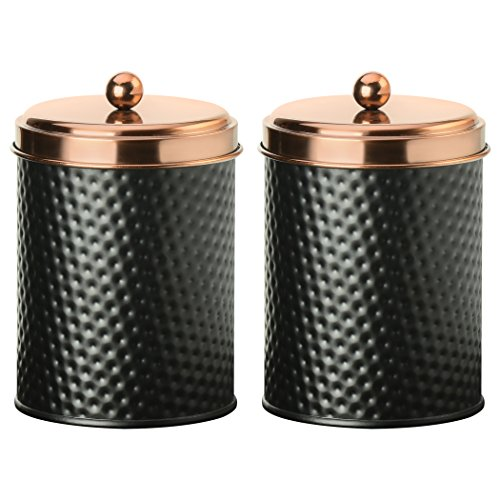 Amici Home, 7CDI031S2R, Ashby Collection Hammered Finish Black Matte Metal Storage Canister, Push Top Copper Tone Lid, Food Safe, 38 Ounces (Medium) Set of 2