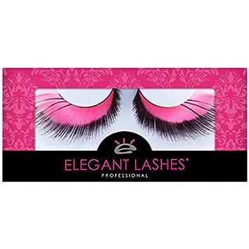 a339c716a13 Amazon.com : Elegant Lashes F357 Premium Pink and Black Feather False  Eyelashes Halloween Dance Rave Costume : Fake Eyelashes And Adhesives :  Beauty