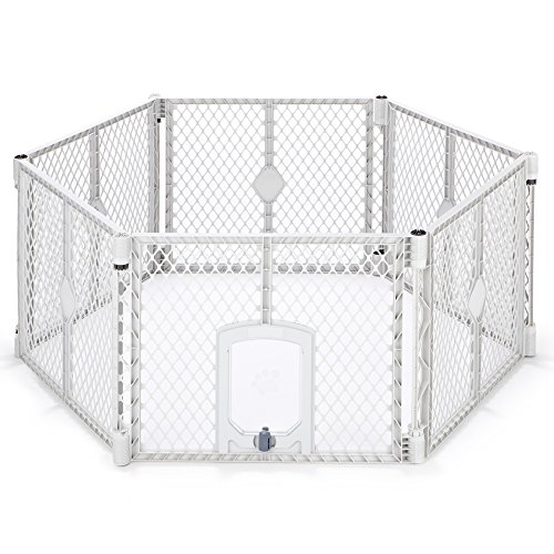 - North States MyPet 18.5 Sq. Ft. Petyard Passage: 6-panel pet enclosure with lockable pet door. Freestanding, 7 sq. ft. - 18.5 sq. ft. (26