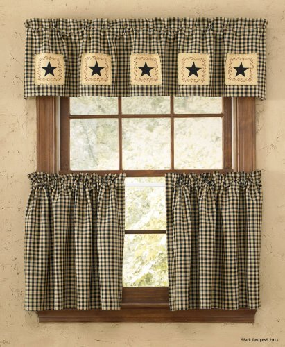 Park Designs Star Patch Lined Window Treatment Tier, 72 x 36 by Park Designs
