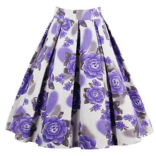 (Girstunm Women's Pleated Vintage Skirt Floral Print A-line Midi Skirts with Pockets Purple-Flowers XL)