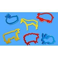 Toyvian Animal Shape Cookie Cutter Plastic Biscuit Educational Toys For Kids (Random Color) 6pcs
