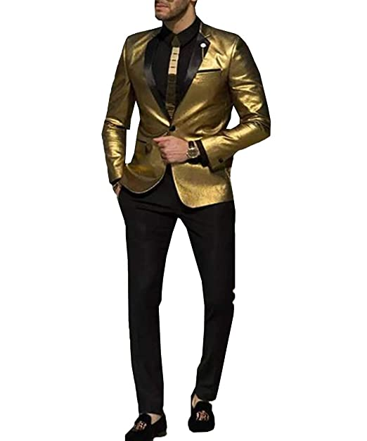 RONGKIM Mens 2 Piece Gold Wedding Suits Slim Fit Bridegroom ...
