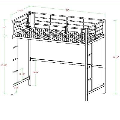 WE Furniture Full Size Metal Loft Bed