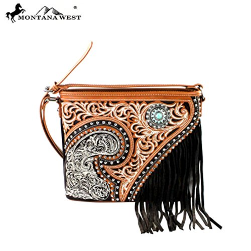 MW379-8287 Montana West Fringe Collection Crossbody Bag-Coffee