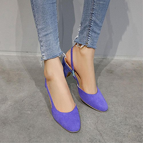 GJDE Sandalias de Verano Laterales de Aire Baotou Sandalias y Zapatillas de la Boca Baja de los Zapatos de Tacón alto Gruesos Blue
