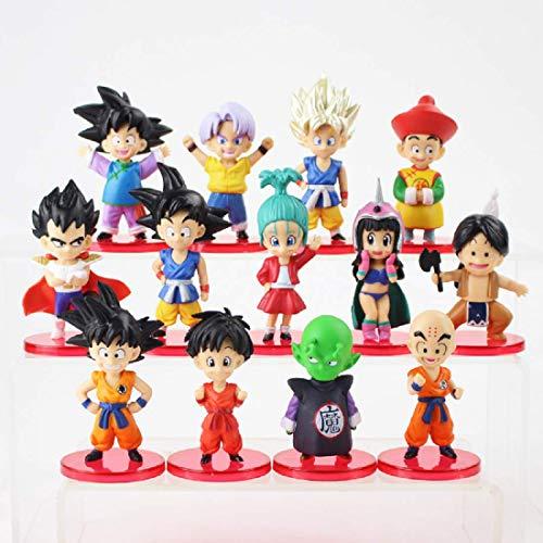 BASANZO 13pcs/lot Dragon Ball Z Figures Son Goku Gohan Goten Vegeta Trunks Bulma Pan Chichi Piccolo Krillin Anime Model Toys Gift]()