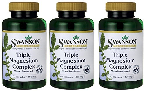 Swanson Triple Magnesium Complex 400 mg 300 Caps -- 3 Bottles each of 100 Capsules