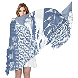 Africa Monaco Blue Culture Women's Shawls and Wraps for Evening Dresses Wedding Shawl Wrap Fringes Silk Like Scarf Fashion Scarves