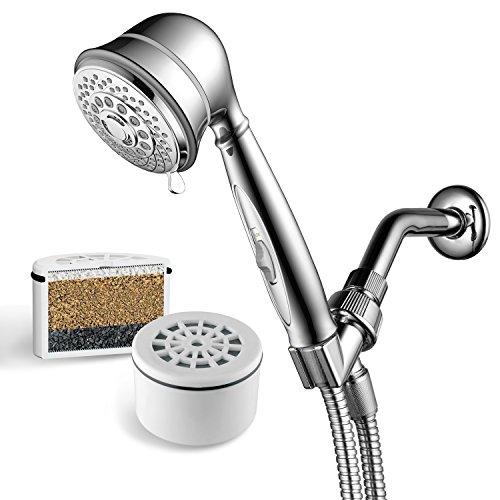 AquaCare By HotelSpa 7-Setting Filtered Handheld Shower Head with Patented ON/OFF Pause Switch and 3 Stage Shower Filter Cartridge Inside. Enjoy Spa Luxury PLUS Better Shower Water!