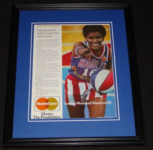 lynette-woodard-1987-mastercard-framed-original-advertisement-globetrotters