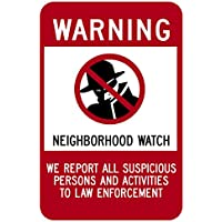 "Highway Traffic Supply Aluminum Sign, Legend Neighborhood Watch with Graphic, 10"" high x 7"" wide, Black/Red on White"