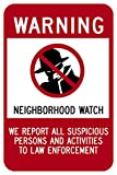"""Highway traffic Supply Signs are heavy-duty aluminum rectangle no trespassing sign, legend """"NEIGHBORHOOD WATCH"""" with WARNING symbol. No Trespassing signs are proven to deter trespassing. Make your surveillance camera known with this clear, co..."""