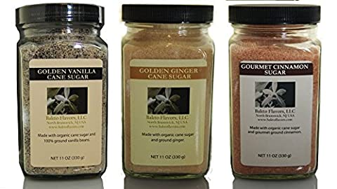Bakto Organic Sugar Pack - 3 (11 OZ Jars) - Vanilla Sugar, Ginger Sugar, Cinnamon Sugar - Cinnamon Organic Sugar