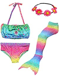 Camlinbo 3Pcs Mermaid Tail for Girls Swimming Swimsuits Princess Bikini Set for Toddler Big Girls Birthday Gift,3-14 Years (Child Large/7-8/Tag 130, B Rainbow)