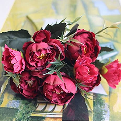 Amazon silk flowers faux peony 1 bouquet european pretty silk flowers faux peony 1 bouquet european pretty wedding mini peony artificial silk flower bouquet mightylinksfo