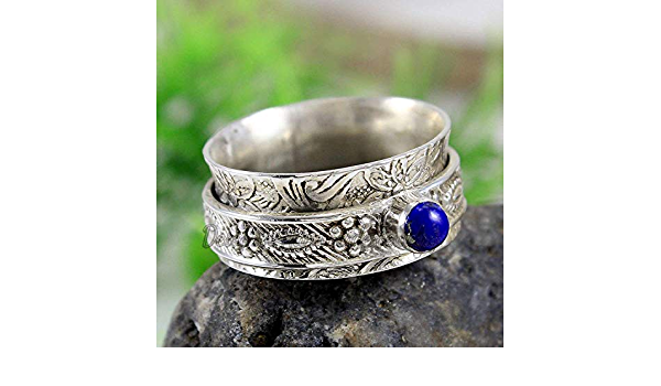 Anniversary Gift Gift For her Fidget Ring Lapis Lazuli Spinner Ring Statement Ring Blue Stone. 925 Sterling Silver Ring Anxiety Ring