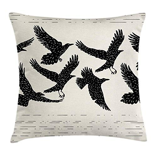 abbf230f5a8b6 Raven Throw Pillow Cushion Cover, Flying Black Birds Ink Style Hand Drawn  Wild Animals on