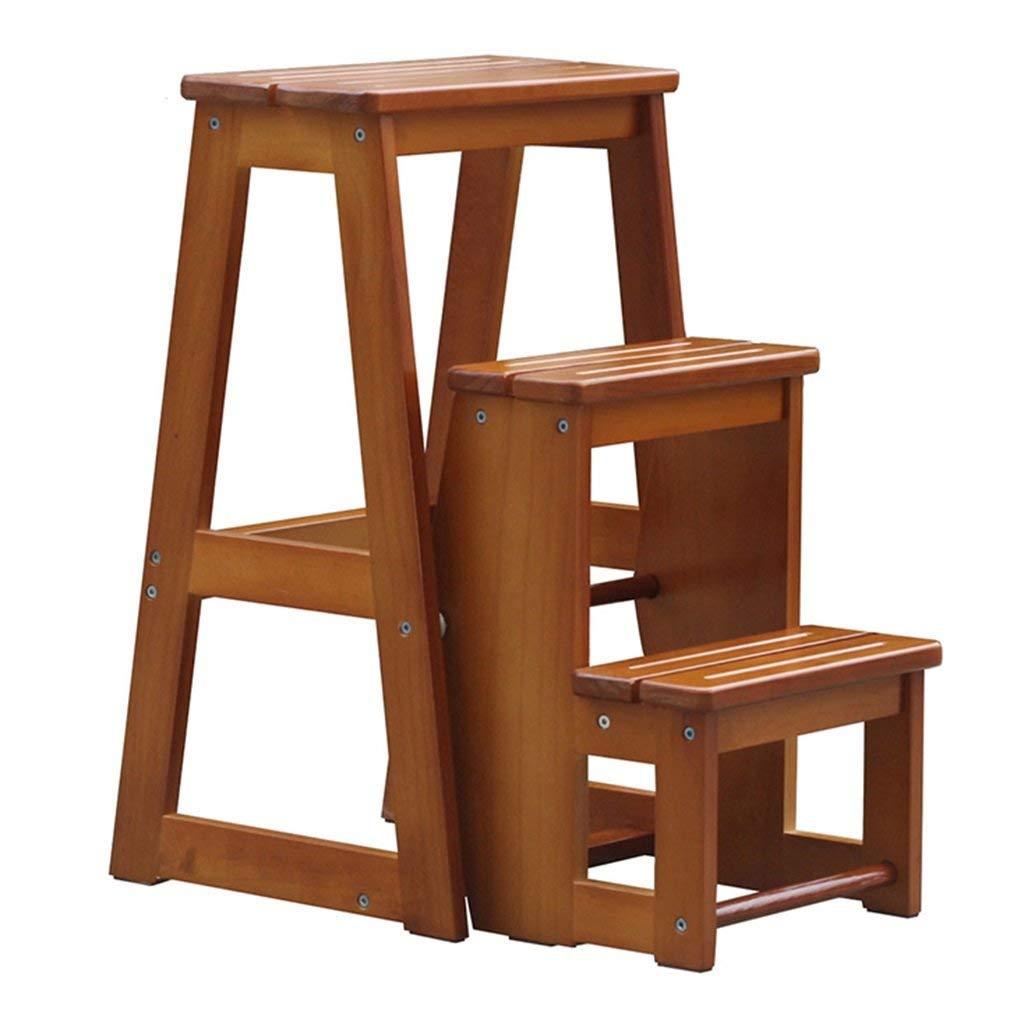 Stilvolle Einfachheit Treppenhaus Hocker Massivholz Klapptritt Hocker Klappstuhl Geeignet für Küche Schlafzimmer Interieur Dreischicht Mehrzweck Dualuse Light Walnut Farbe 28X56.5X64Cm Trittleiter ,