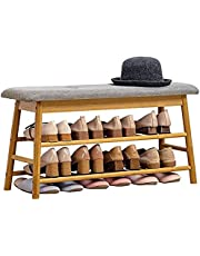 KG 2-Tier Storage Shoe Rack Bench with Padded Seat 1-Hidden Compartment, Bamboo Entryway Shoe Holder Stool Organizer for Front Door, Living Room Hallway Shoes Shop,