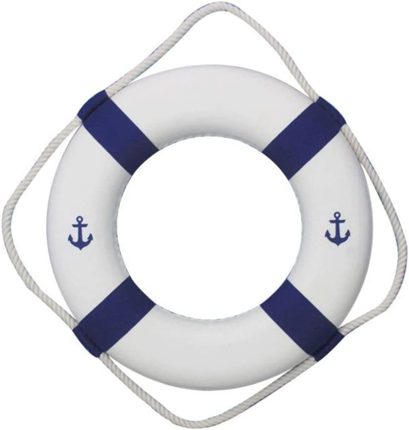 """Hampton Nautical Classic White Decorative Anchor Life Ring with Blue Bands, 15"""""""