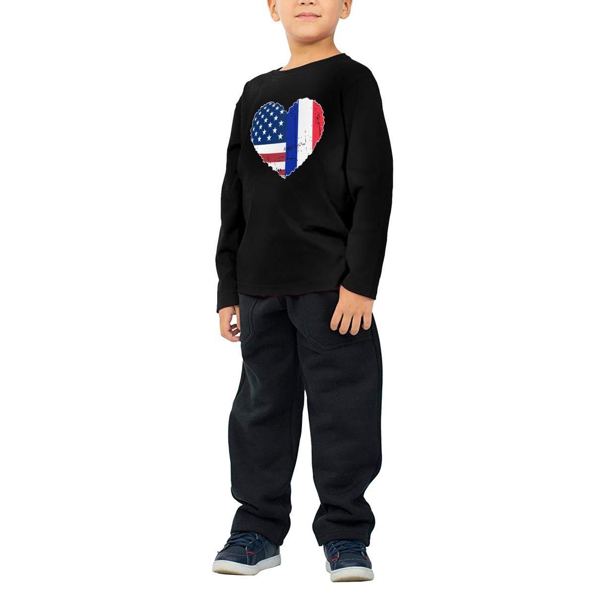 CERTONGCXTS Baby Boys Kids France USA Flag Heart ComfortSoft Long Sleeve Shirt