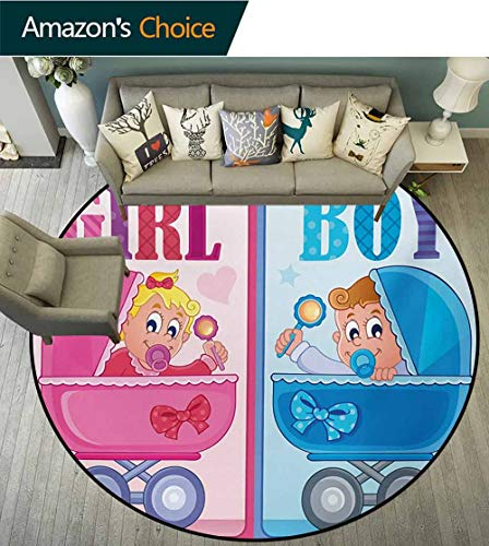 (RUGSMAT Gender Reveal Modern Washable Round Bath Mat,Girl and Boy Baby Carriage Looking Newborn Announcement Theme Print Non-Slip Bathroom Soft Floor Mat Home Decor,Round-59 Inch Pale Pink and Blue)