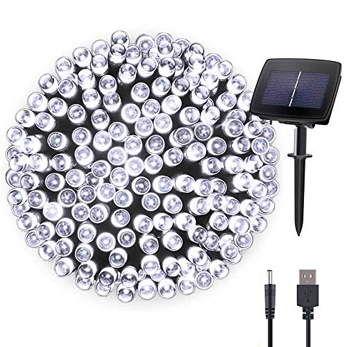 Hopolon Solar Fairy/Starry String Lights Outdoor Waterproof 72ft 200LED for Patio, Lawn,Garden, Home, Wedding, Holiday, Christmas Party, Xmas Tree Decoration,Waterproof/Timer/USB Charge (Cool White)