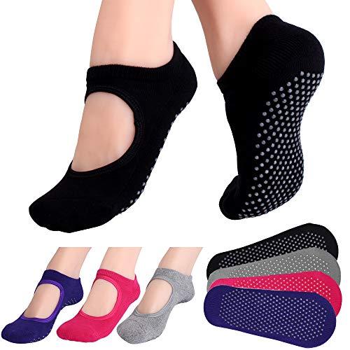 Hicdaw 4Pairs Yoga Socks for Women Non Slip Skid Socks