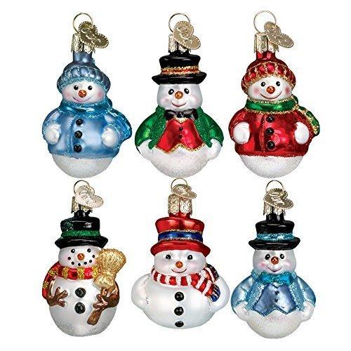 Old World Christmas Mini Snowman Set Glass Blown (Mini Snowglobe Ornament)