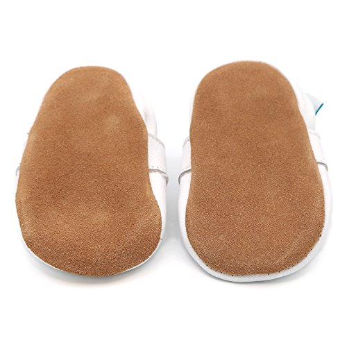 Dotty Fish - cuero suave para bebés y niños pequeños Zapatos - Niñas - Blanco estilo Mary-Jane