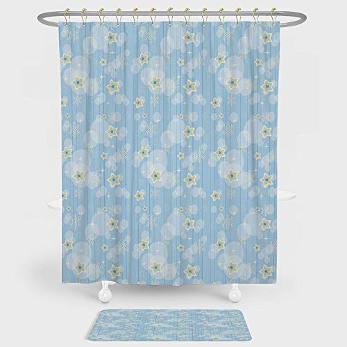 iPrint Winter Shower Curtain And Floor Mat Combination Set Cute Kids Baby Pattern Night Sky with Soft Colored Stars New Year Theme For decoration and daily use Baby Blue Yellow White ()