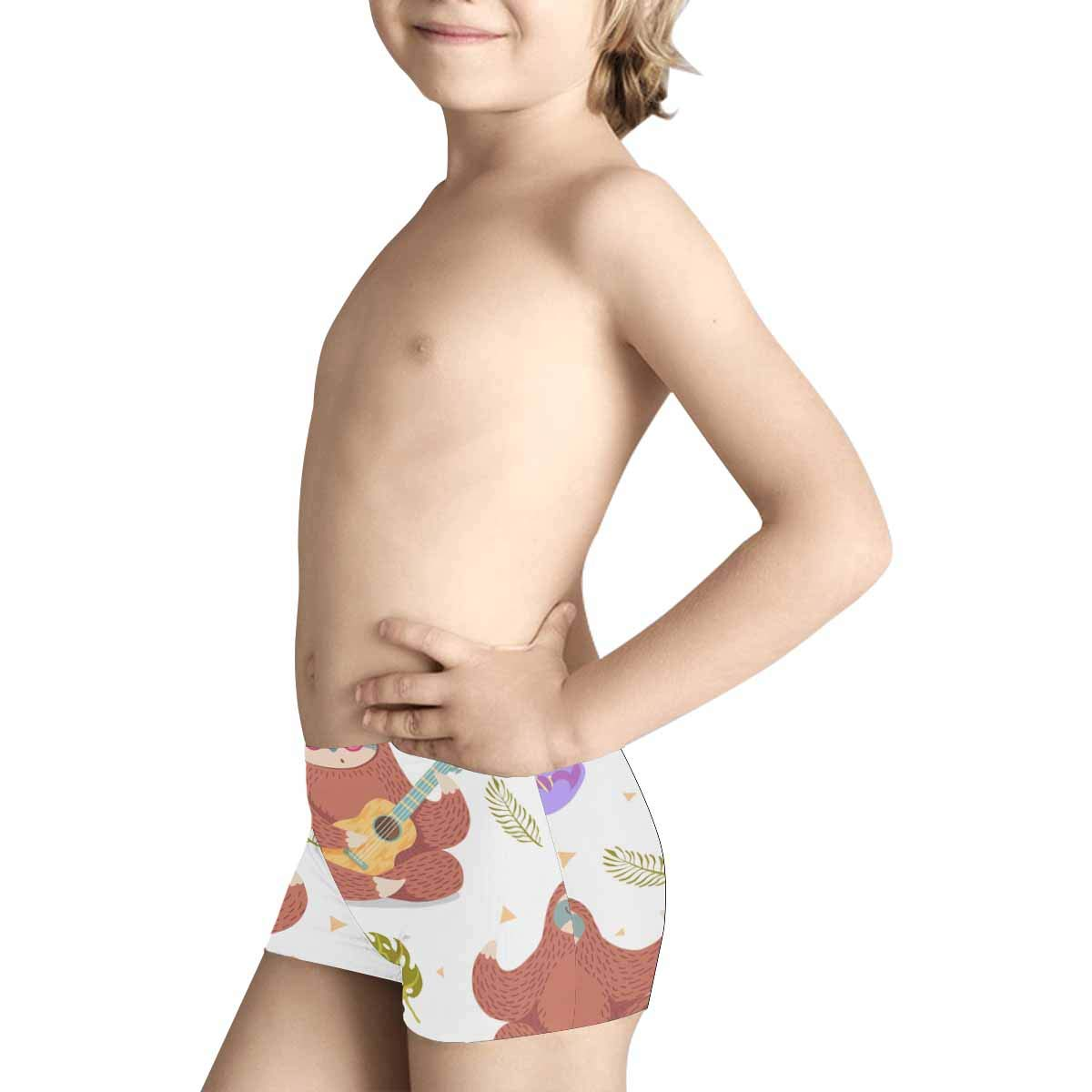 INTERESTPRINT Boys Cute Cartoon Sloth in Lotus Performance Boxer Briefs 5T-2XL