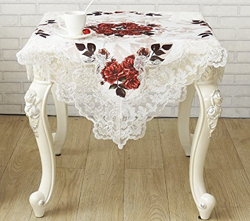 Just-Enjoy Lace Embroidered Lace with Floral Printed Fabric Tablecloth Table Runner (36x36'' Square) (36' Lace Runner)