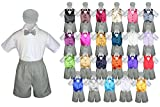 Baby Toddler Boy Formal Party Suit GRAY Shorts Shirt Hat Bow tie Vest set Sm-4T (Extra Large ( 18-24 Months ), Coral)