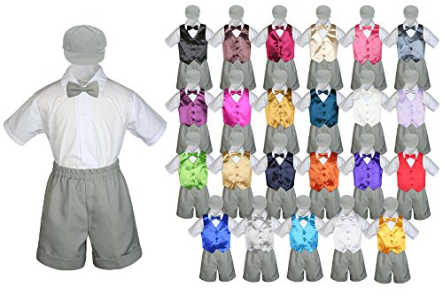 LEADERTUX Baby Toddler Boy Formal Party Suit Gray Shorts Shirt Hat Bow tie Vest Set Sm-4T (4T, Gold)