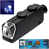 PIXNOR MG10081-1 Poche Type 60 X-100 X Microscope de Poche Lumineux LED Zoom (Noir)