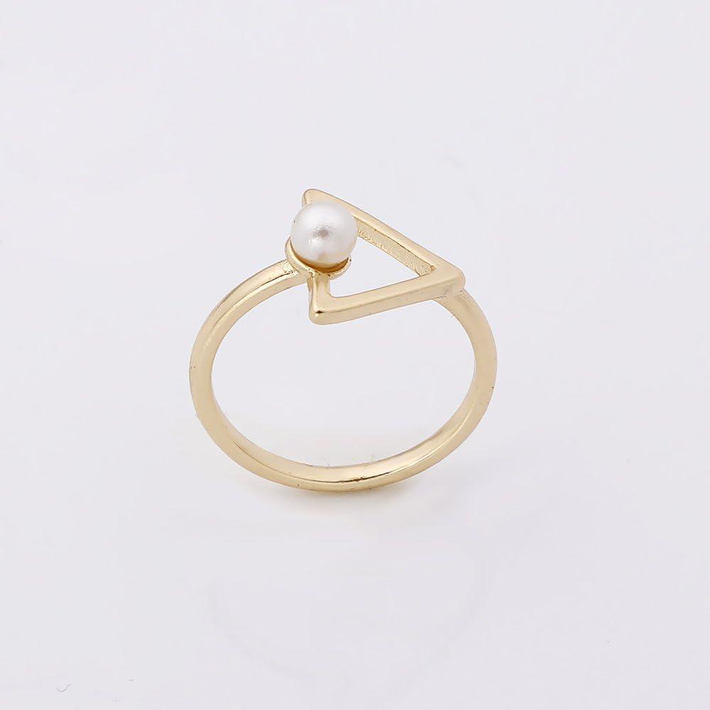 PANGRUI Triangle Simple Pearl Ring,Triangle Ring