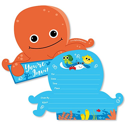 Under The Sea Critters - Shaped Fill-in Invitations - Birthday Party or Baby Shower Invitation Cards with Envelopes - Set of -