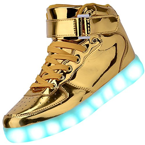 Odema Women High Top USB Charging LED Shoes Flashing Sneakers, Gold, 9 B(M) US